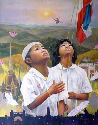 Poster featuring the painting One Heart Of Thailand by Chonkhet Phanwichien