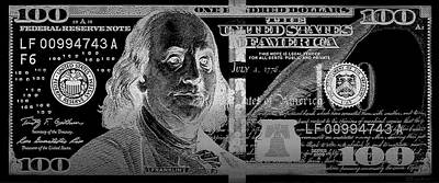 One Hundred Us Dollar Bill - $100 Usd In Silver On Black Poster by Serge Averbukh
