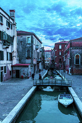 one of many normal channels of Venice on a summer evening Poster