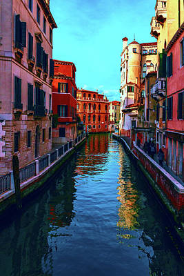 one of the many beautiful old Venetian canals on a Sunny summer day Poster