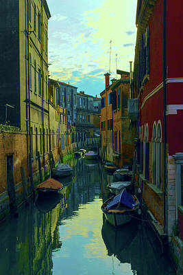 one of the many Venetian canals at the end of a Sunny summer day Poster