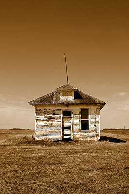 One Room Rural School Sepia Toned Poster by Donald  Erickson