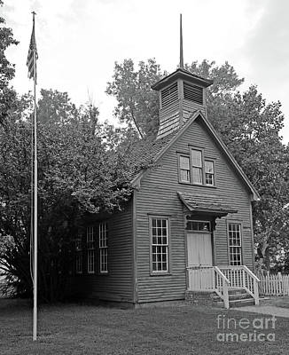 One Room Schoolhouse Black And White Poster