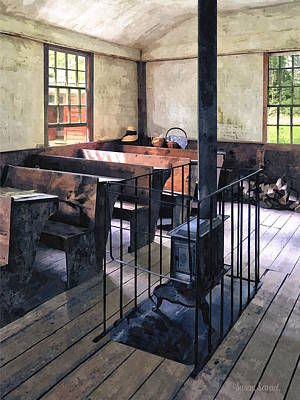 One Room Schoolhouse With Stove Poster