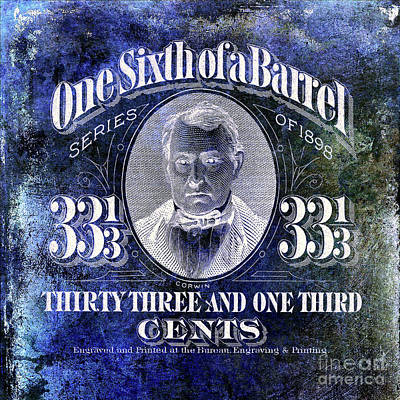 One Sixth Beer Barrel Tax Stamp Blue Poster
