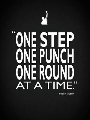 One Step One Punch One Round Poster by Mark Rogan