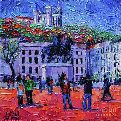 One Tuesday In Lyon - Palette Knife Oil Painting Poster by Mona Edulesco