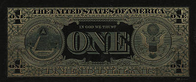 One U. S. Dollar Bill Reverse - Gold On Black Poster
