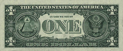 One U. S. Dollar Bill Reverse Poster by Serge Averbukh