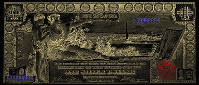 Poster featuring the digital art One U.s. Dollar Bill - 1896 Educational Series In Gold On Black  by Serge Averbukh