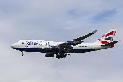One World Boeing 747 Poster by David Pyatt