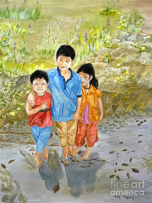 Poster featuring the painting Onion Farm Children Bali Indonesia by Melly Terpening