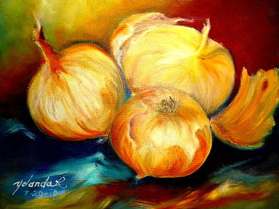 Poster featuring the painting Onions by Yolanda Rodriguez