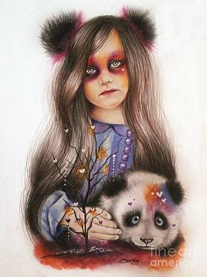 Poster featuring the drawing Only Friend In The World - Panda Precious by Sheena Pike