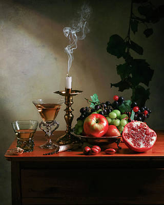 Ontbijtje With Pommegranate-candle-glassware And Fruits Poster