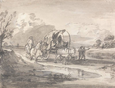 Open Landscape With Horsemen And Covered Cart Poster by Thomas Gainsborough