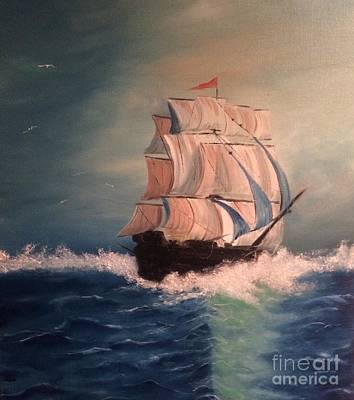 Poster featuring the painting Open Seas by Denise Tomasura