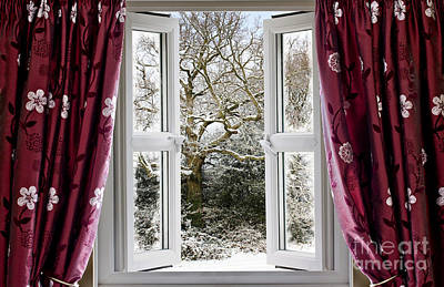 Open Window With Winter Scene Poster by Simon Bratt Photography LRPS