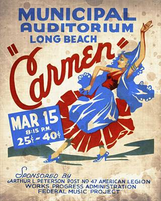 Opera Carmen In Long Beach - Vintage Poster Vintagelized Poster
