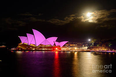 Opera House - Pretty In Pink - Vivid Sydney By Kaye Menner Poster