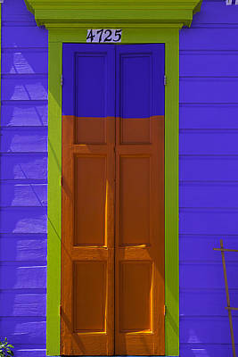Orange And Blue Door Poster by Garry Gay