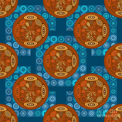 Orange And Blue Pattern Poster by Gaspar Avila