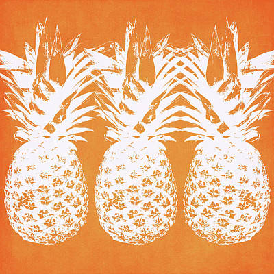Orange And White Pineapples- Art By Linda Woods Poster by Linda Woods