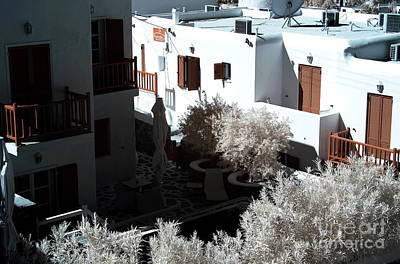 Orange Balcony In Mykonos Infrared Poster by John Rizzuto