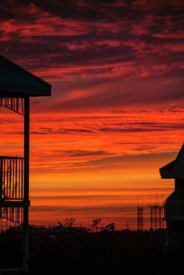 Poster featuring the photograph Orange Balcony Sunset by Bob Slitzan
