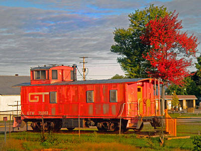 Orange Caboose Poster by Michael Durst