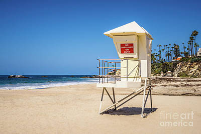 Orange County California Laguna Beach Lifeguard Tower  Poster by Paul Velgos