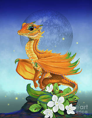 Poster featuring the digital art Orange Dragon by Stanley Morrison