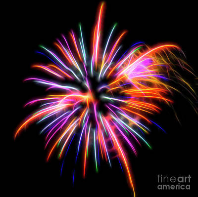 Poster featuring the photograph Orange Fireworks by Yulia Kazansky