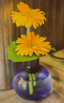 Orange Flowers Blue Vase Poster