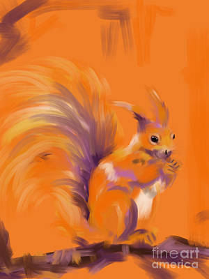 Orange Forest Squirrel Poster by Go Van Kampen