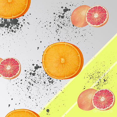 Orange Grapefruit Collage Poster by Pati Photography
