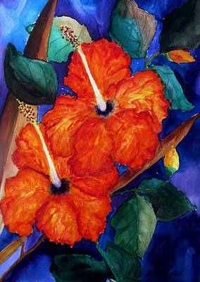Poster featuring the painting Orange Hibiscus by Lil Taylor
