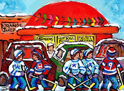 Orange Julep Drive In Montreal Winter City Scene Painting Hockey Art Canadian Artist Carole Spandau  Poster by Carole Spandau
