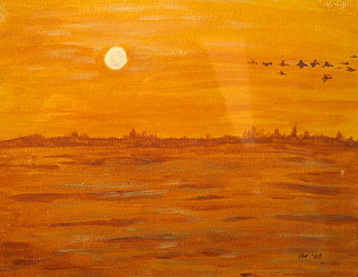Poster featuring the painting Orange Ocean by Ian  MacDonald