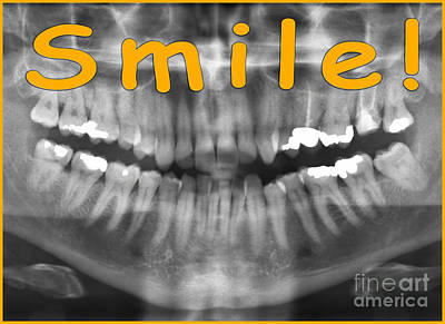 Orange Panoramic Dental X-ray With A Smile  Poster by Ilan Rosen