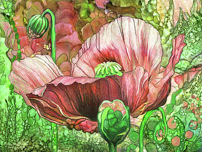 Poster featuring the mixed media Orange Poppy Garden by Carol Cavalaris