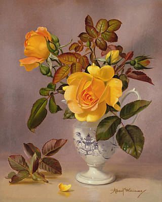 Orange Roses In A Blue And White Jug Poster by Albert Williams