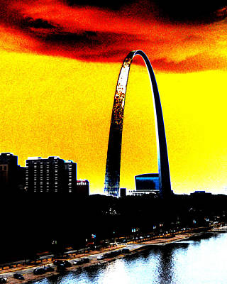 Poster featuring the digital art Orange Skies And The Arch by Maggy Marsh