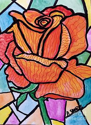 Orange Stained Glass Rose Poster