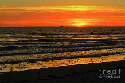 Orange Sunrise Morning Poster