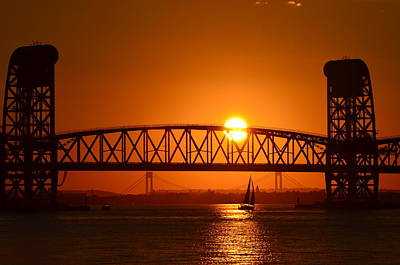 Orange Sunset Brooklyn Bridges Sailboat Poster