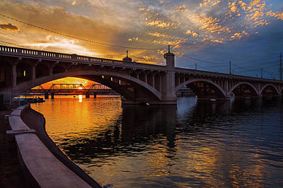 Orange Sunset Over Tempe Town Lake Poster by Dave Dilli