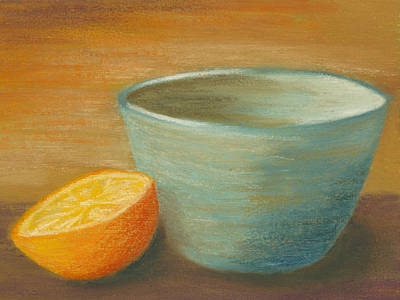 Orange With Blue Ramekin Poster