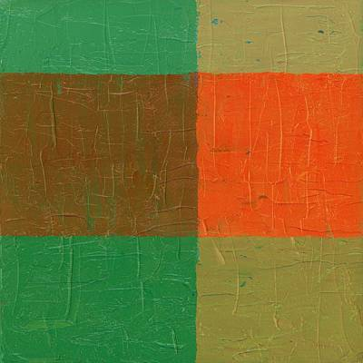 Orange With Brown And Teal Poster by Michelle Calkins