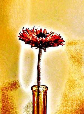 Orange Wooden Flower Poster